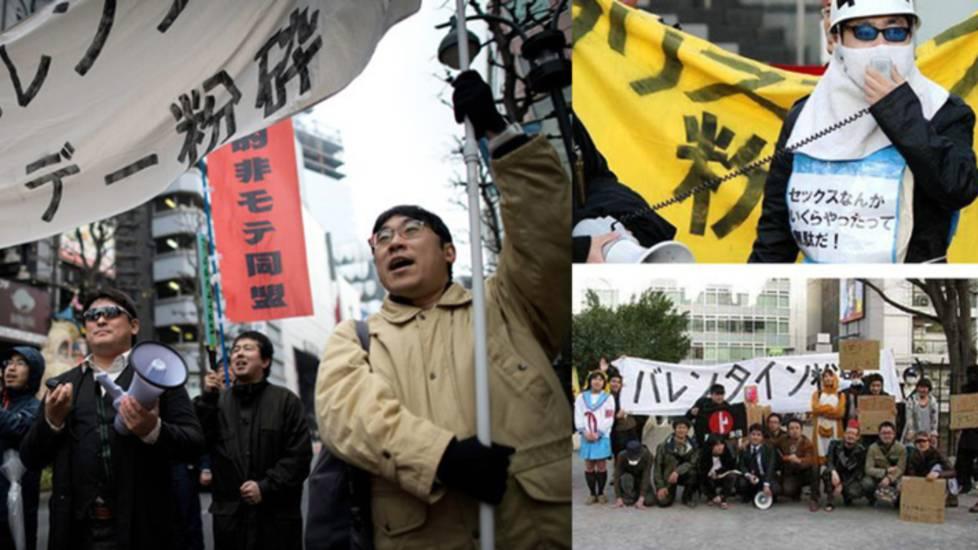 Các thanh niên Nhật ế lâu năm ra đường biểu tình đòi hủy ngày Valentine