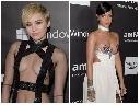 Miley Cyrus và Rihanna đua nhau mặc 'bạo' dù đi từ thiện