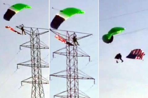 Kinh hoàng: Nhảy dù, rơi tự do vì điện cao thế