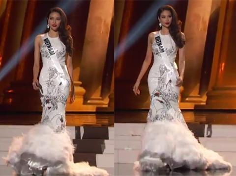 ''Thiên nga trắng'' Phạm Hương lộng lẫy trong phần thi dạ hội bán kết Miss Universe