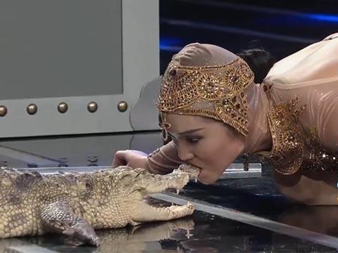 Cô gái xinh đẹp hôn hàm cá sấu khiến người xem đứng tim