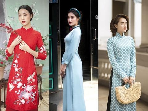 Mỹ nhân Việt xúng xính diện áo dài đón Tết Nguyên đán 2018