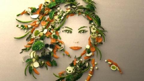 Vẽ tranh bằng trái cây, rau củ