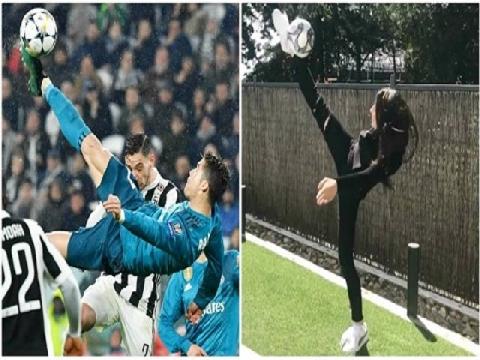 Nữ HLV thể dục tái hiện cú móc bóng thần thánh của Ronaldo