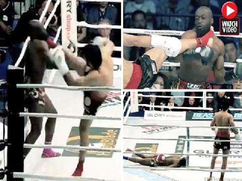 Dính đòn hồi mã thương võ sĩ kickboxing gục ngã ngay tại chỗ