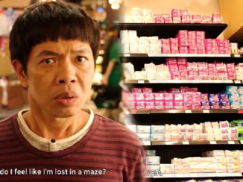 Thái Hòa lúng túng đi mua 'đồ phụ nữ' trong siêu thị