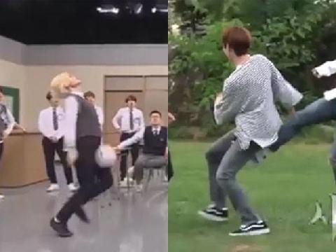 Chết cười với phản ứng của idol nam khi bị đánh trúng 'chỗ hiểm'