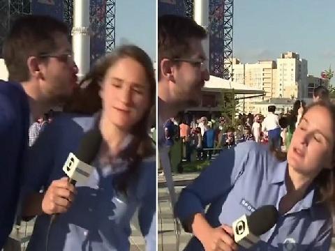 Nữ phóng viên nhanh trí tránh được vụ sàm sỡ tại World Cup 2018