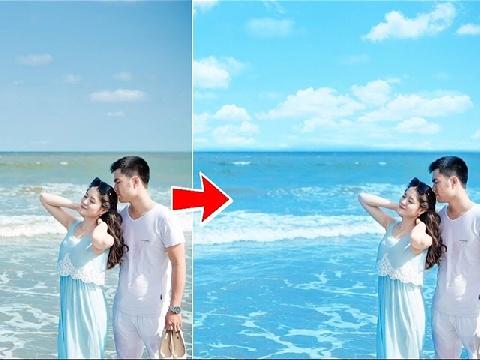 Hướng dẫn làm xanh nước biển và ghép mây bằng Điện Thoại