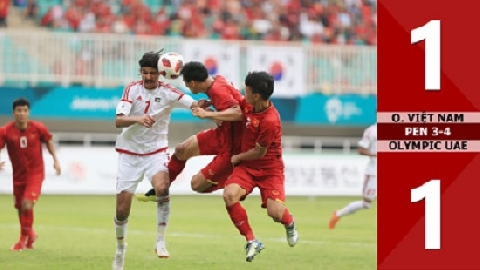 Olympic Việt Nam 1-1 (pen 3-4) Olympic UAE (tranh HCĐ ASIAD 2018)