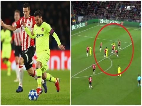 Messi ghi bàn quá đỗi đẳng cấp trước vòng vây cầu thủ PSV