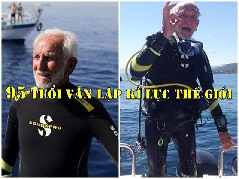 Cụ ông 95 tuổi lập kỉ lục là thợ lặn lớn tuổi nhất thế giới