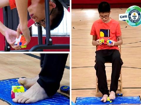 Thánh quay rubik: 1 phút quay 3 rubik bằng cả chân và tay