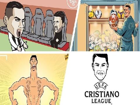 Các nét vẽ biếm họa siêu hài về phong độ thần kỳ của Ronaldo