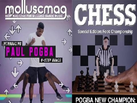 Pogba vẽ, chơi cờ bằng chân siêu dị