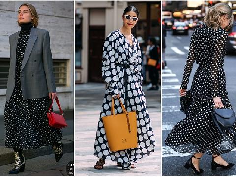 Đầm dáng dài chấm bi – sự lịch lãm đượm màu cổ điển
