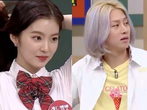 Heechul hứng gạch đá vì ném đồ vào người Irene trên sóng truyền hình
